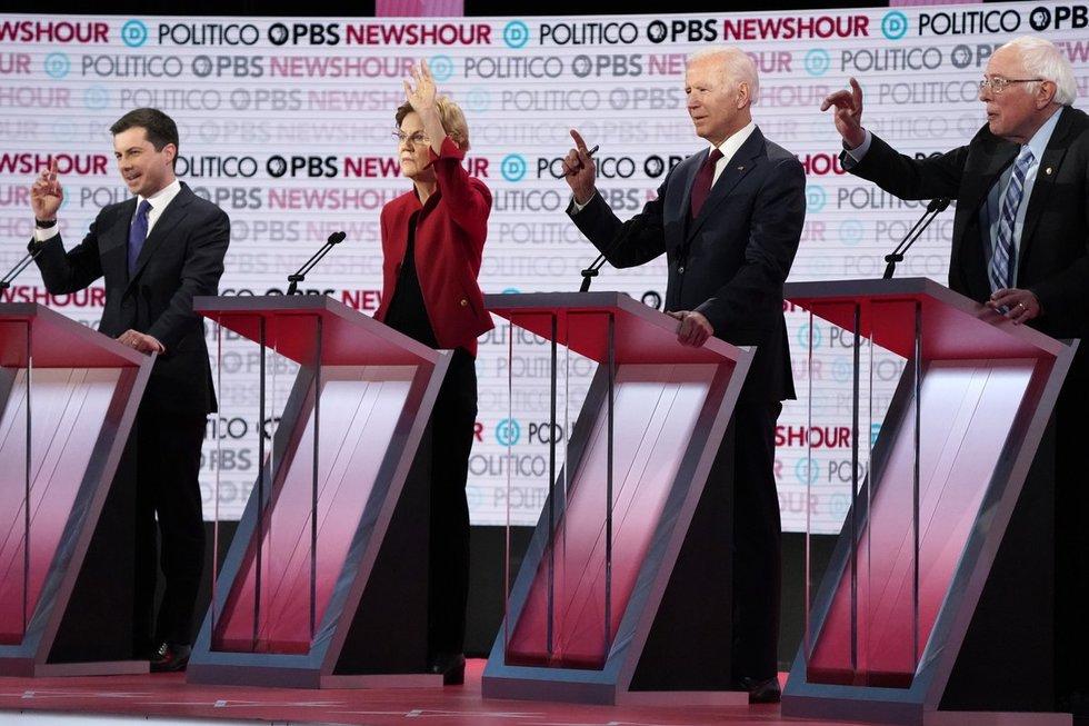 Pete'as Buttigiegas, Elizabeth Warren, Joe Bidenas, Bernie'is Sandersas
