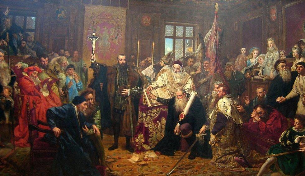 """Jano Mateikos paveikslas """"Liublino unija"""" (nuotr. Organizatorių)"""