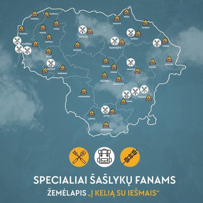 """Specialiai šašlykų fanams – naujasis """"Keliauk Lietuvoje"""" teminis žemėlapis """"Į kelią su iešmais"""" (Nuotr. spaudos pranešimo)"""