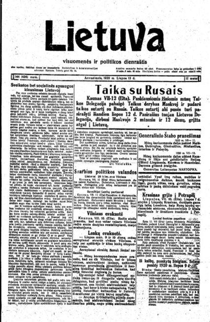 """Svarbiausias to meto leidinys """"Lietuva"""" skelbia apie sutartį"""