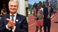 Gitanas Nausėda ir bėgimo varžybų laimėtojai (tv3.lt fotomontažas)