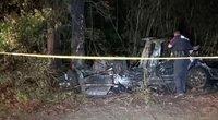 """Kraupi """"Teslos"""" avarija žuvo du vyrai: vairuotojo pusėje nebuvo nei vieno žmogaus (nuotr. stop kadras)"""