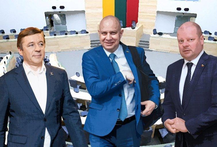 Ramūnas Karbauskis, Aurelijus Veryga, Saulius Skvernelis (tv3.lt fotomontažas)