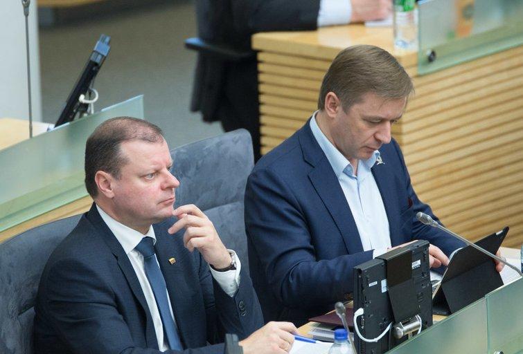 Saulius Skvernelis ir Ramūnas Karbauskis (nuotr. Fotodiena.lt)