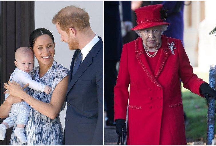 Archie, Meghan Markle, princas Harry ir karalienė (tv3.lt fotomontažas)