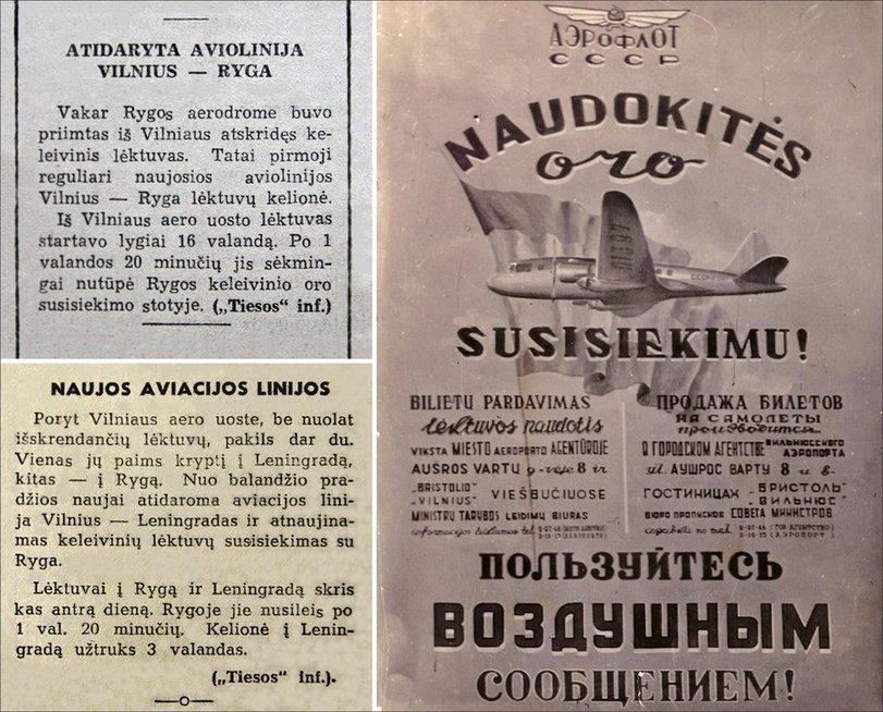 """Oro uosto veikla 1947-1948 m. (nuotr. iš D. Pocevičiaus knygos """"Istoriniai Vilniaus reliktai 1944-1990 m."""")"""