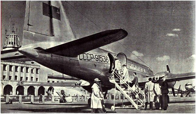 Vilniaus oro uostas apie 1959 m. (nuotr. žurnalas 'Švyturys' 1959m. numeris, J. Žvejo nuotrauka)