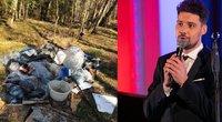 Petras Daunys rado miške šiukšlių (tv3.lt fotomontažas)