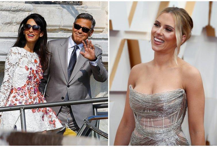 George Clooney su žmona Amal ir Scarlett Johansson (nuotr. SCANPIX) tv3.lt fotomontažas