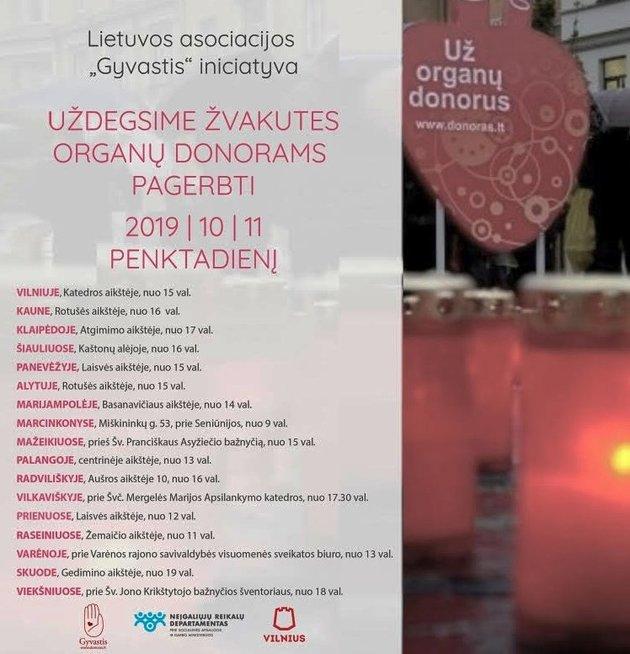 """Žvakučių akcija vyksta Vilniuje ir dar 17-oje Lietuvos miestų. Asociacijos """"Gyvastis"""" archyvo nuotr."""