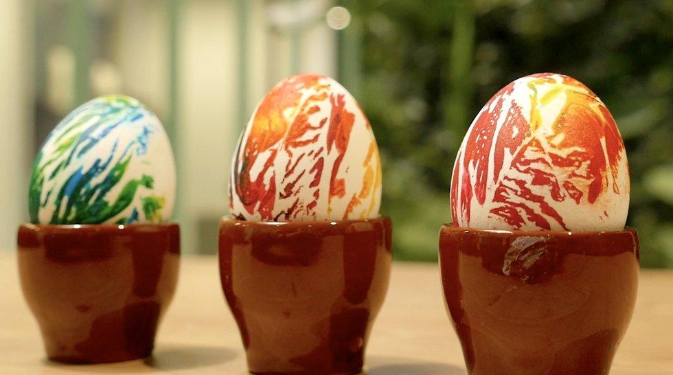 Servetėlėmis marginti kiaušiniai