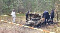 Šalia Kazlų Rūdos rastas sudegęs automobilis su žmogaus palaikais (nuotr. Raimundo Maslausko)