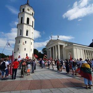Vilniuje mitingas už laisvę apsispręsti dėl vakcinavimo neapsiėjo be incidentų: vienam dalyviui lūžo koja