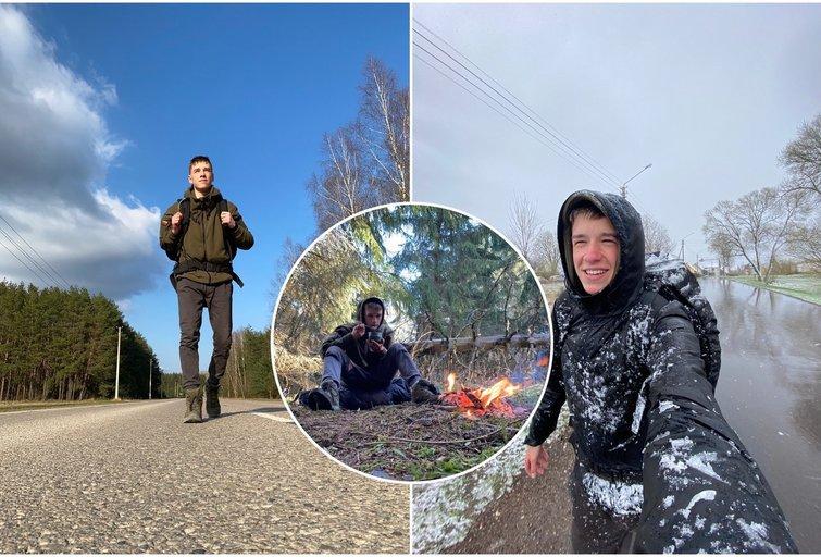 Mantvydas metė sau iššūkį: pėsčiomis nukeliavo nuo Vilniaus iki Palangos (tv3.lt fotomontažas)