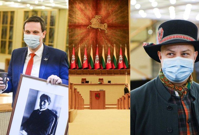 Darbą pradėjo naujas Seimas: politikai taria priesaikos žodžius ir su tautiniais rūbais (nuotr. Fotodiena/Justino Auškelio)