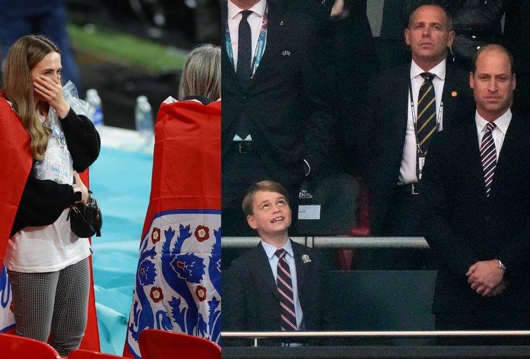 Anglijos futbolo sirgaliai ir princas Williamas (nuotr. SCANPIX)