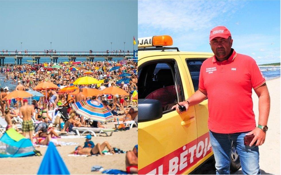 Palangos gelbėtojų vadovas Jonas Pirožnikas teigė, kad paplūdimiuose tiek žmonių dar nebuvo