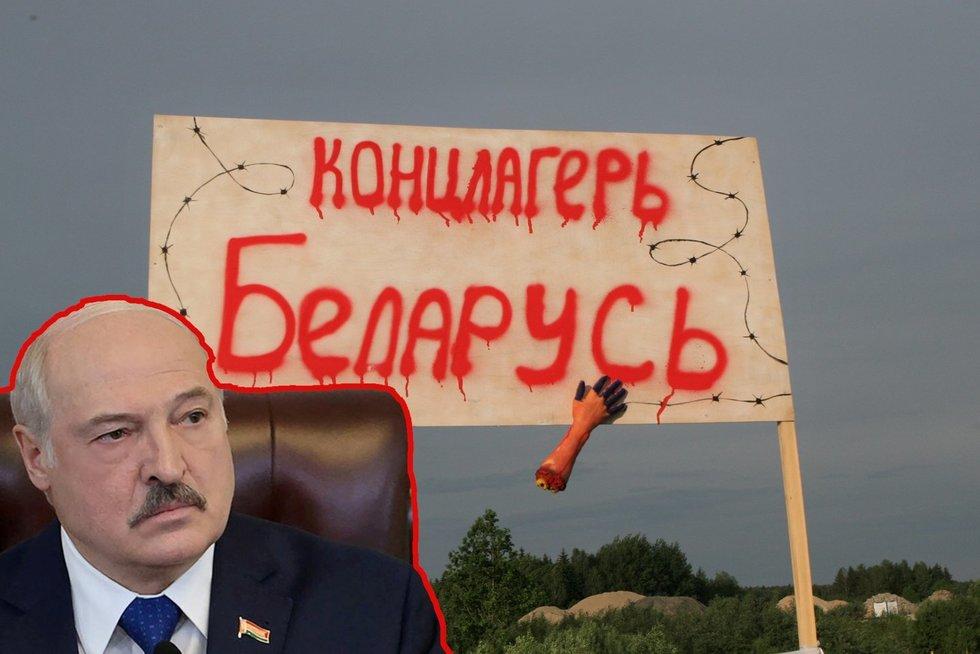 """Lukašenka kreipėsi į lietuvius: kitaip grasina, kad """"bus kaip prieš 80 metų"""" (nuotr. SCANPIX) tv3.lt fotomontažas"""