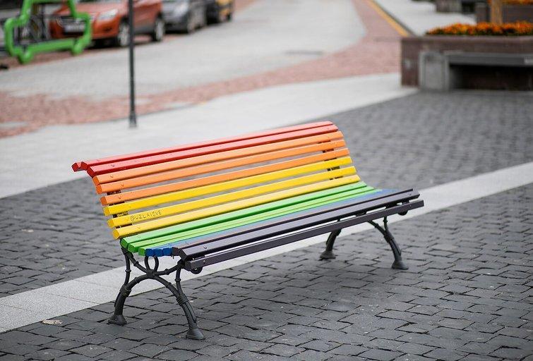 Laisvės partija liūdi: dingo vaivorykštės spalvų suoliukas (nuotr. facebook.com)