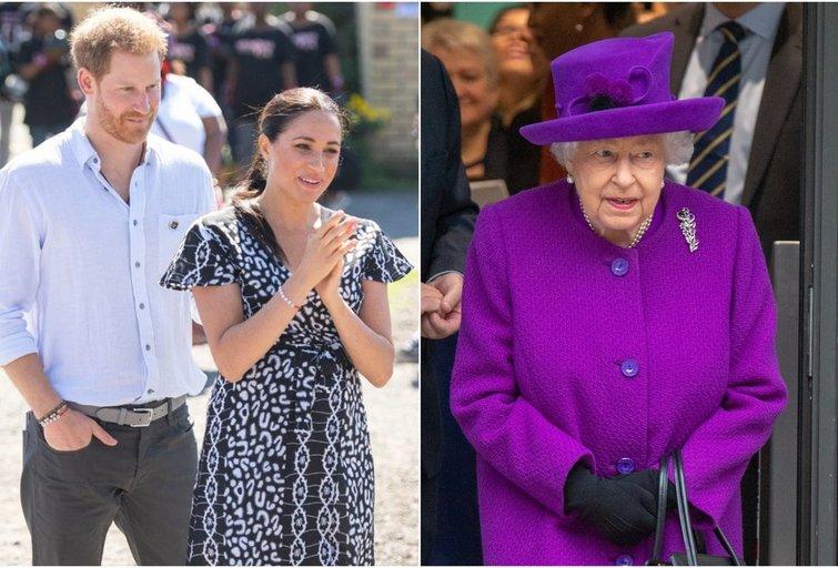 Princas Harry, Meghan Markle ir karalienė (tv3.lt fotomontažas)