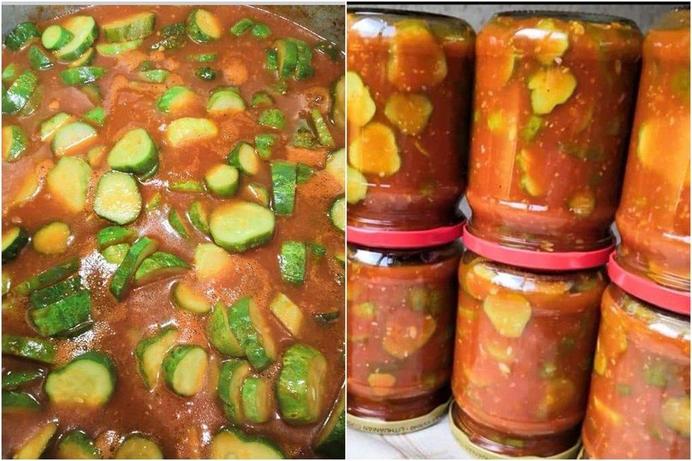 Agurkai pomidorų padaže