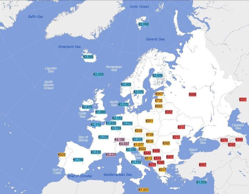 Vidutiniai atlyginimai, atskaičius mokesčius, Europoje