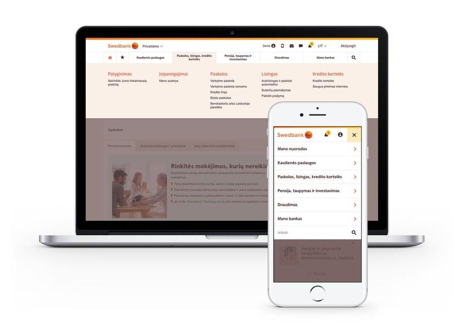 """""""Swedbank"""" pritaikė interneto banką mobiliajai aplinkai (nuotr. bendrovės)"""