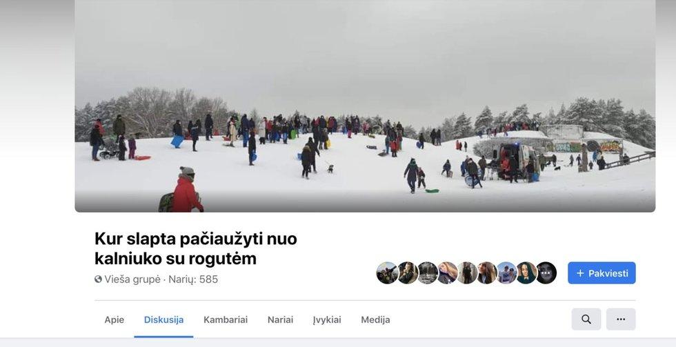 Kuriasi grupės, kuriose pranešama, kur čiuožinėti