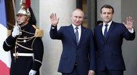Vladimiras Putinas ir Emmanuelis Macronas (nuotr. SCANPIX)