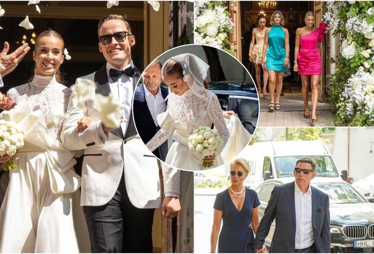 daug dėmesio sulaukusias vestuves susirinkę svečiai rengėsi skirtingai – vienos moterys puošėsi ilgomis, uždaromis suknelėmis, kitos demonstravo pečius ir ilgas kojas (nuotr. TV3)