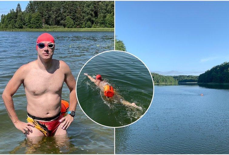 Nikolajus per 10 valandų įveikė ilgiausią Lietuvos ežerą (tv3.lt fotomontažas)