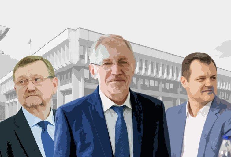 Juozas Bernatonis, Gediminas Kirkilas, Gintautas Paluckas (Monikos Kasnikovskytės iliustr.)