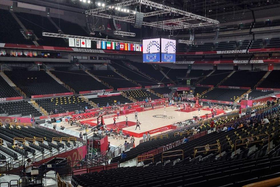 """Krepšinio turnyras Tokijuje vyksta įspūdingoje """"Saitama Super"""" arenoje (nuotr. tv3.lt)"""