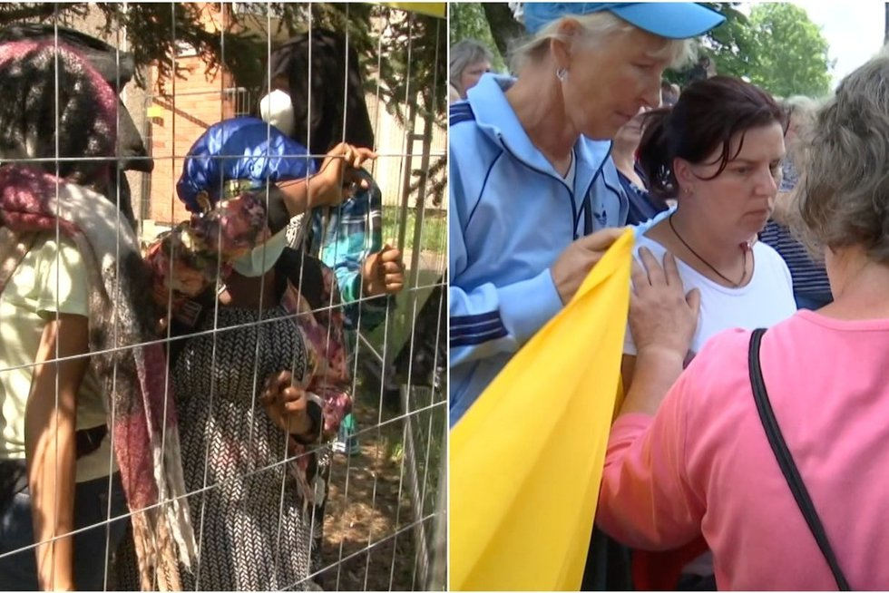 Nufilmuota, kaip Dieveniškėse protestuoja lietuviai, o Verebiejuose – migrantai (nuotr. stop kadras)