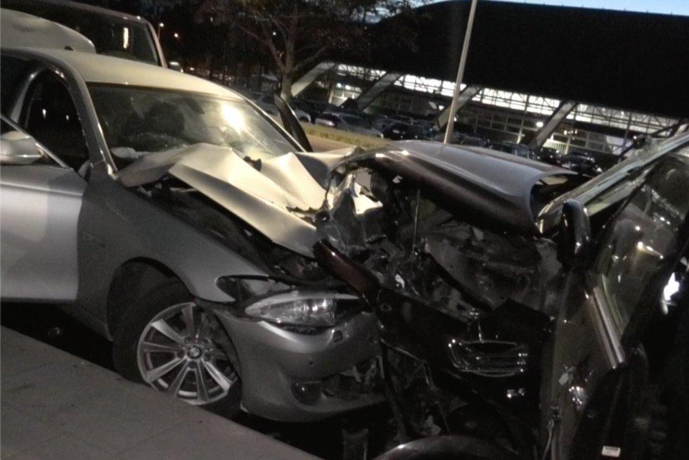 Vilniuje girtas vyras su visureigiu sukėlė masinę avariją: prieš sėsdamas už vairo išgėrė 4 alaus (nuotr. stop kadras)