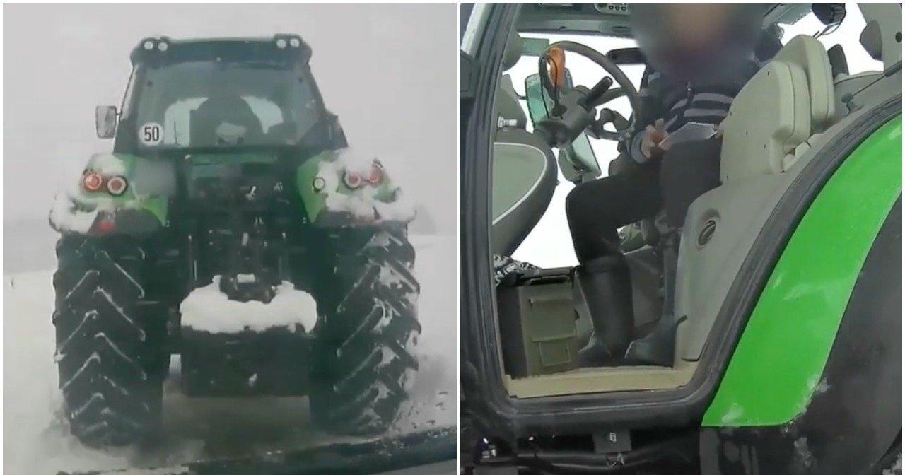 Trakų rajone nufilmavo girto traktorininko manevrus: stūmė sniegą į kiemus