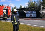 Kelyje į Palangą sudegus autobusui, nusidriekė kilometrinis kamštis
