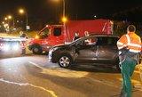 Vilniuje naktį apvirto moters vairuojamas automobilis