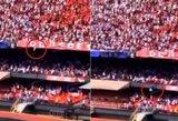 """Kraupu net žiūrėti: sirgalius išgyveno """"skrydį"""" nuo aukštos stadiono tribūnos"""