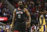 """Istorinę seriją tęsiantis Hardenas atseikėjo 40 taškų ir atvedė """"Rockets"""" į pergalę"""