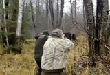 Užfiksavo neeilinį vaizdą, kaip medžiotojus puolė rudasis lokys