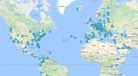 Žemėlapis su WiFi slaptažodžiais iš visų pasaulio oro uostų (nuotr. facebook.com)