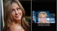 """Jennifer Aniston savo """"Instagram"""" paminėjo ir Ingridą Šimonytę (nuotr. SCANPIX) tv3.lt fotomontažas"""