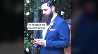Jaunikio elgesys šokiravo vestuvių svečius: svarbiau telefonas nei nuotaka   (nuotr. stop kadras)