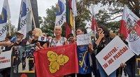 Protestas prie Vyriausybės dėl migrantų (nuotr. Fotodiena/Justino Auškelio)