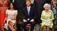Meghan Markle, princas Harry ir karalienė (nuotr. SCANPIX)