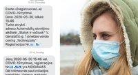 Vilnietė gavo SMS išsitirti nuo COVID-19 (tv3.lt fotomontažas)