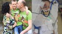 Donalda ir Ignas Dimšos su sūnumi Ervinu/ Ervinas ligoninėje (nuotr. facebook.com)