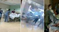 Užfiksavo ligoninėje patirtą košmarą: stiklo šukės lėkė tiesiai į gimdančią moterį (nuotr. stop kadras)