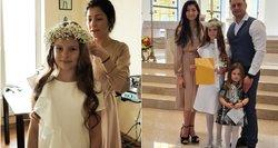 Rimiškio dukra priėmė Pirmąją Komuniją: mergaitės suknelė – ypatinga